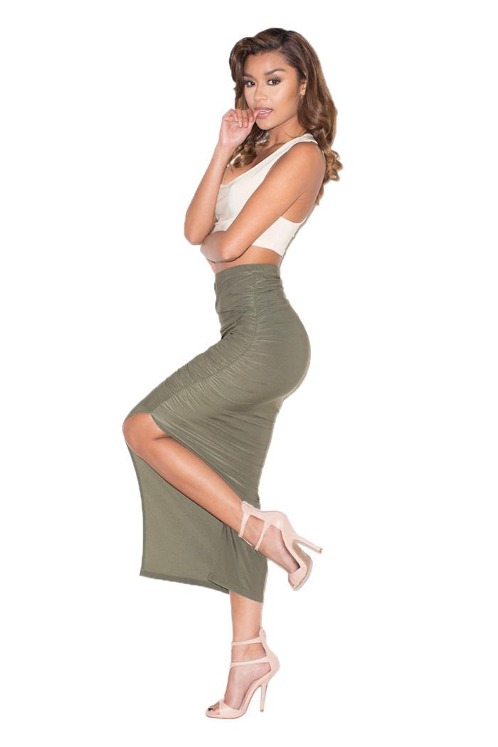 Side Ride Khaki Thigh Split Maxi Skirt Mistress Rocks