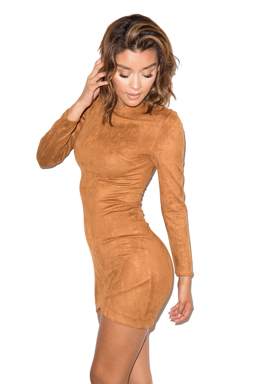 Gunsmoke Tan Suedette Asymmetric Dress Mistress Rocks