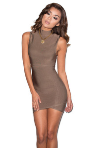 Exposure Taupe Cut Out Bandage Dress