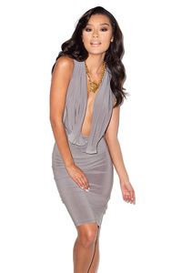 On The Down Low Grey Crepe Jersey Plunge Neck Dress