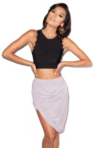 Tali Grey Jersey Draped Skirt