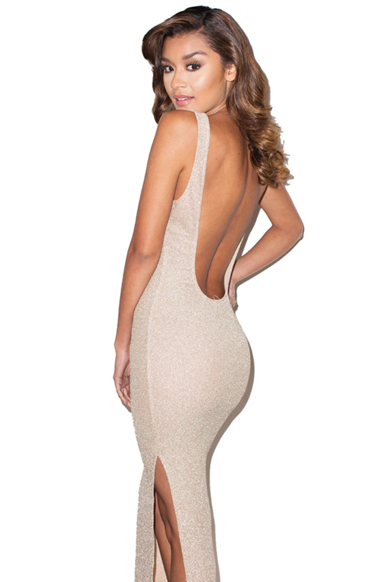 Luxelife Nude Sparkle Backless Maxi Dress