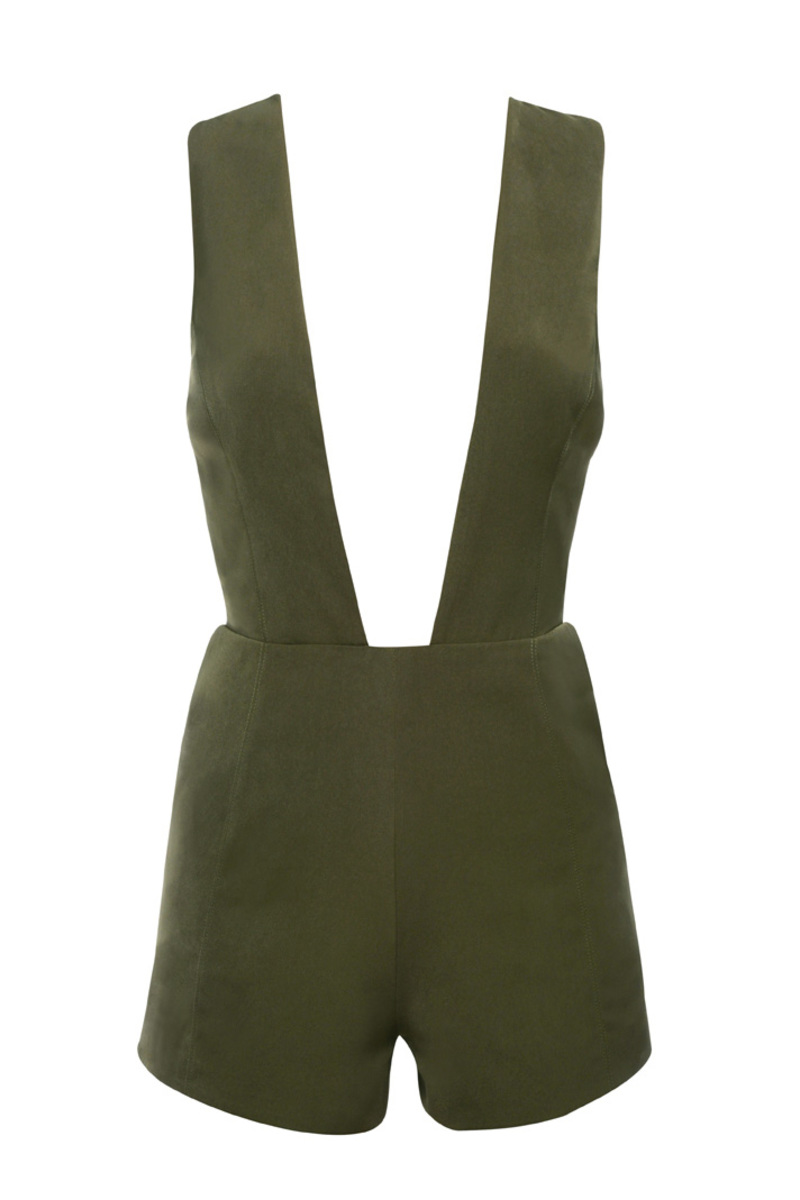 the now drop playsuit in khaki