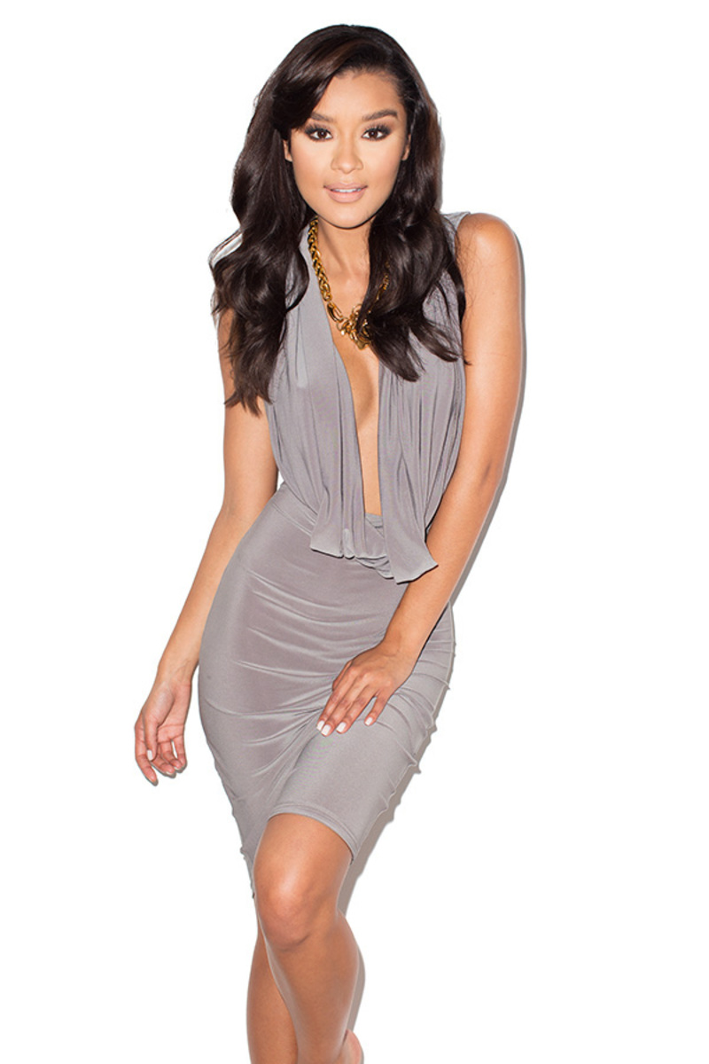 the on the down low bodycon dress in grey