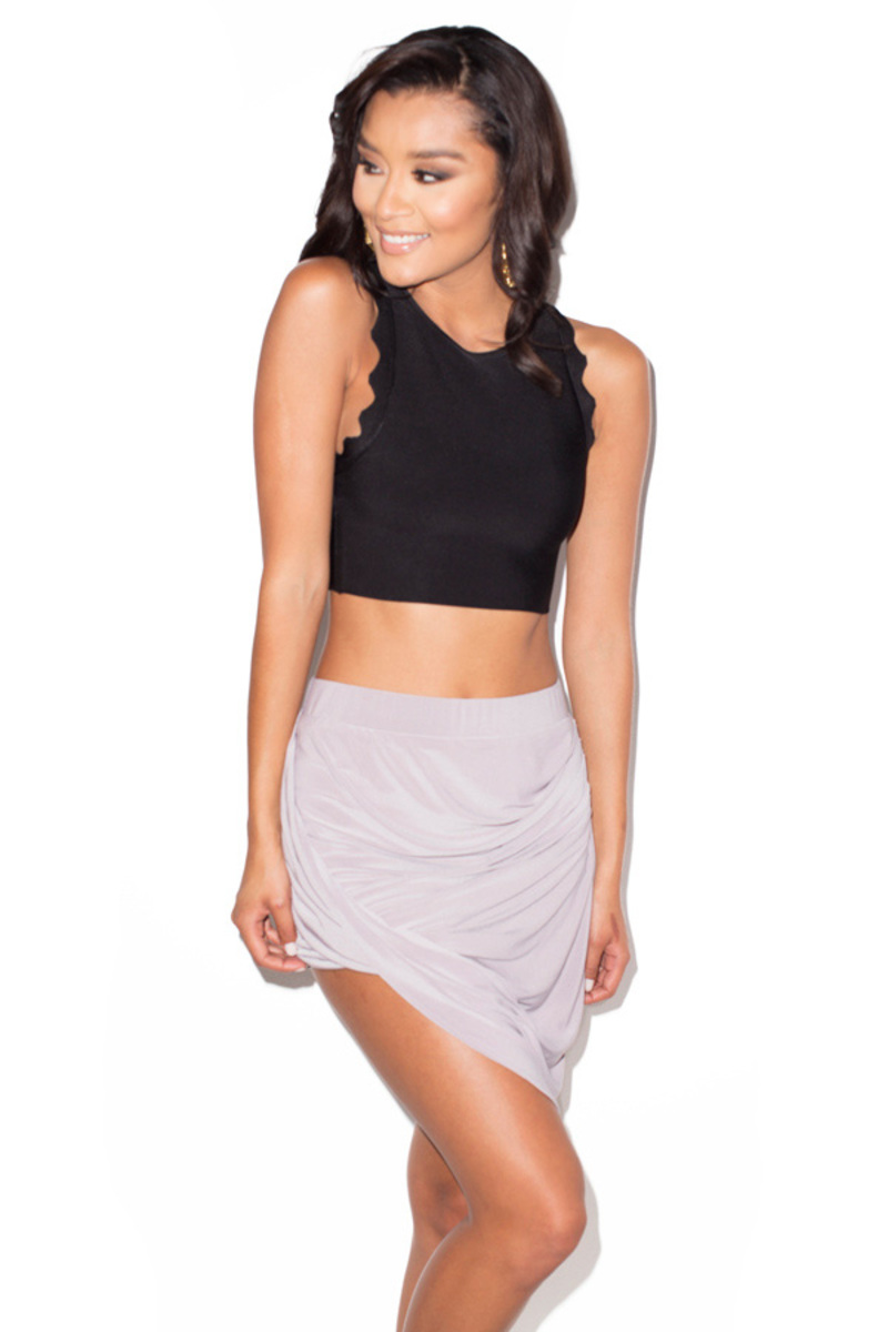 tali grey draped skirt