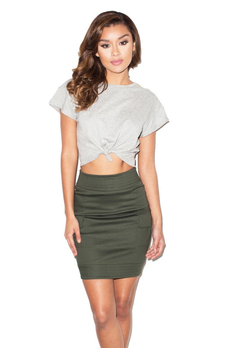 All Tied Up Grey Marl Cropped Tshirt