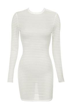 Angel White Self Stripe Mini Dress