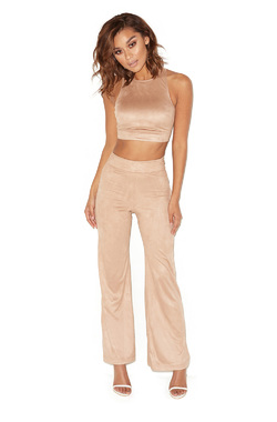 Chancer Taupe Suedette Two Piece Trouser Suit