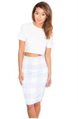 Cross Me Blue and White Chequer Pencil Skirt