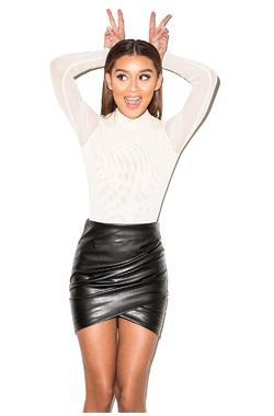 Ignite Black Draped Vegan Leather Mini Skirt