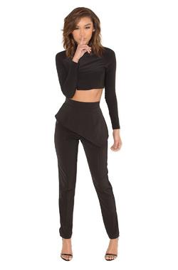 Lock Down Black Two Piece Trouser Suit