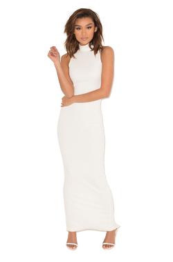 Revenge White Ribbed Maxi Dress