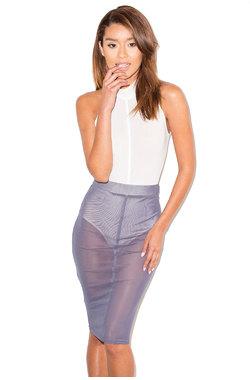 Skinny Dip Charcoal Mesh Pencil Skirt