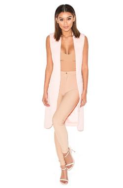 Step Up Pale Pink Sleeveless Coat