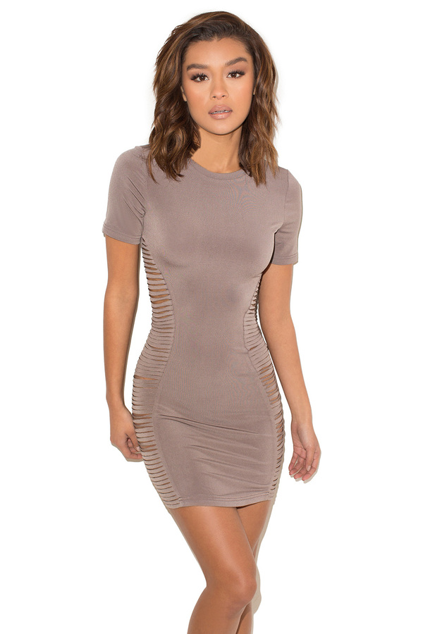All of the Lights Mocha Open Side Mini Dress