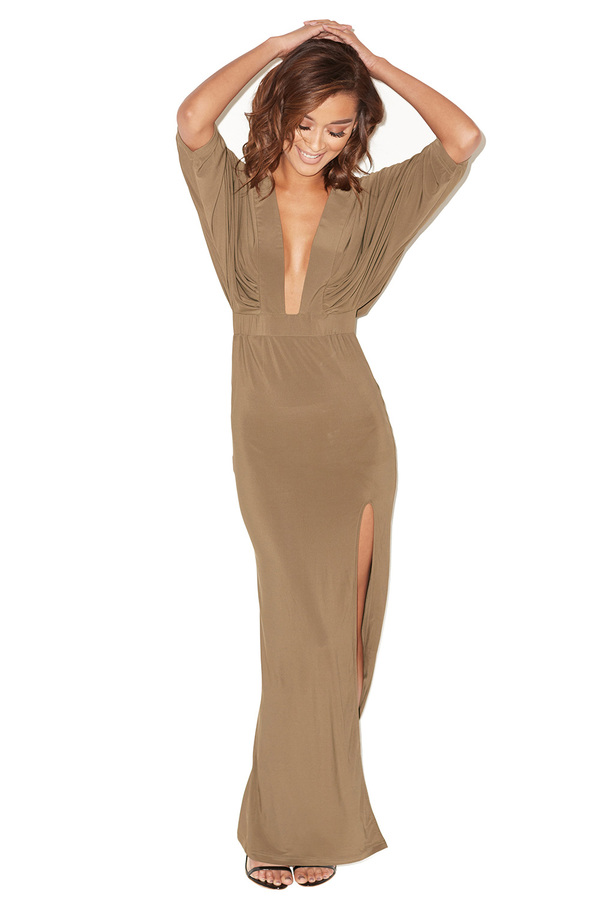 Dare Khaki Thigh Split Maxi Dress
