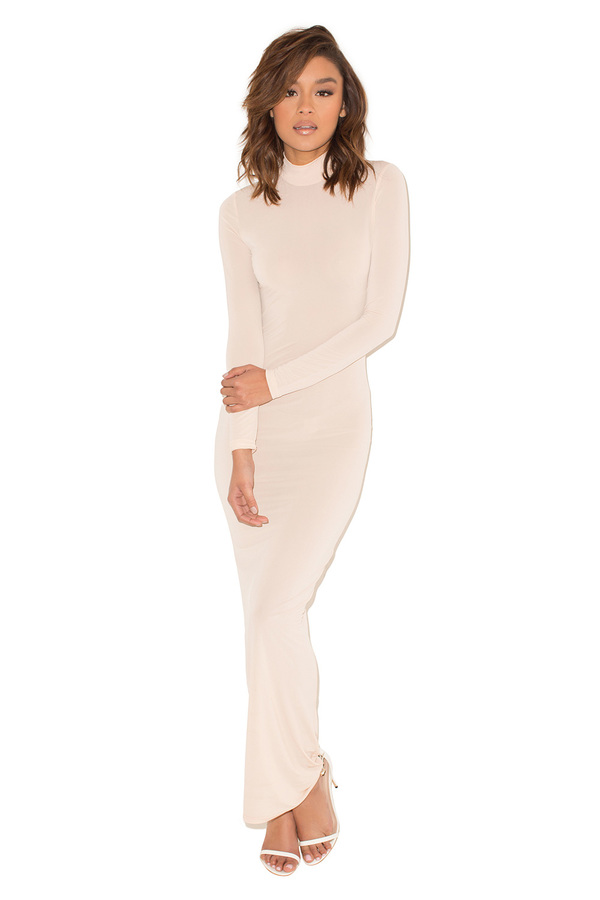 Don't Stop Nude Stretch Jersey High Neck Maxi Dress