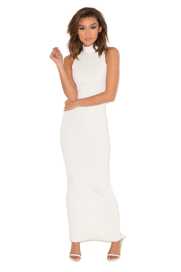 Revenge White Ribbed Maxi Dress