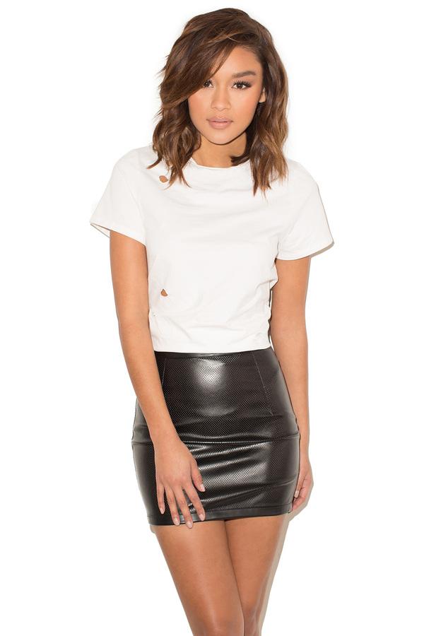 True Story Black Perforated Vegan Leather Mini Skirt