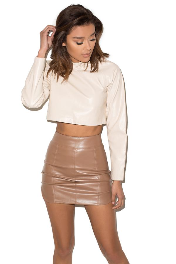 Undercover Brown Vegan Leather Mini Skirt