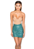 Watch Me Evergreen Textured Vegan Leather Mini Skirt