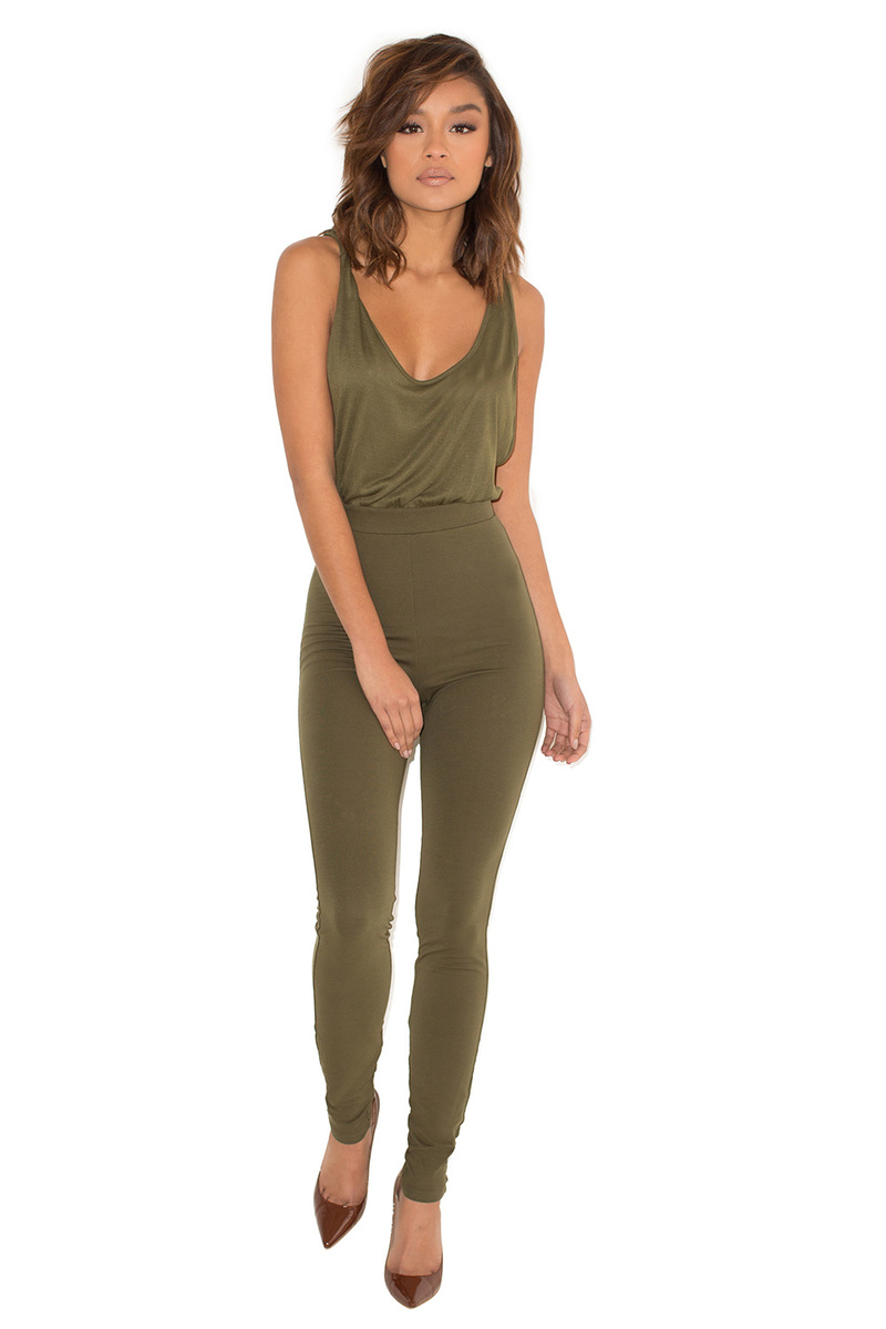 Go-Getter Khaki SideBoob Jumpsuit