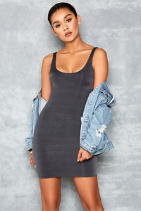 Revolution Dark Grey Scoop Bodycon Mini Dress