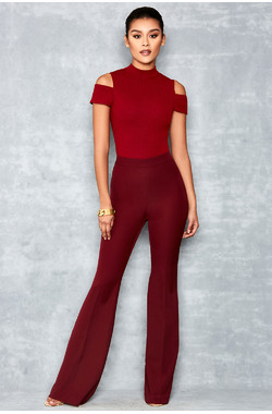 Fever Burgundy High Waist stretch Crepe Trousers