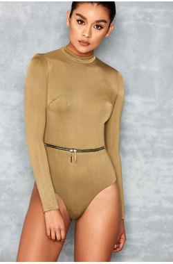 Guest List Khaki Long Sleeve Silky Jersey Bodysuit