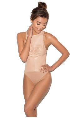 Love Yourself Nude Vegan Leather Bodysuit