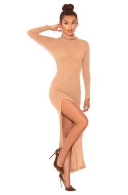 Overkill Camel Soft Knit Long Sleeve Maxi Dress