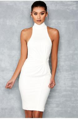 Queen White Knot Detail Dress