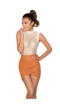 Party On Tan Vegan Leather Mini Skirt