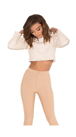 Found Love Nude Vegan Leather Cropped Hoodie