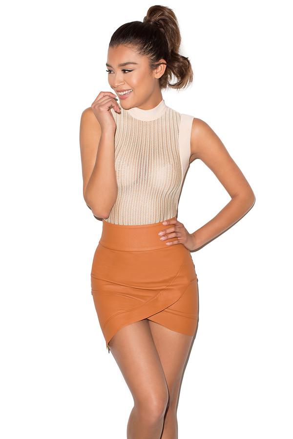 Party On Tan Vegan Leather Mini Skirt