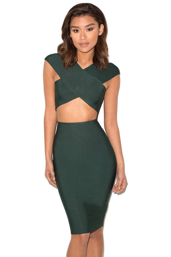 Cross Your Heart Evergreen Bandage Two Piece Set