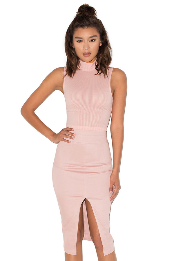 Muse Pale Pink Stretch Canvas Pencil Skirt