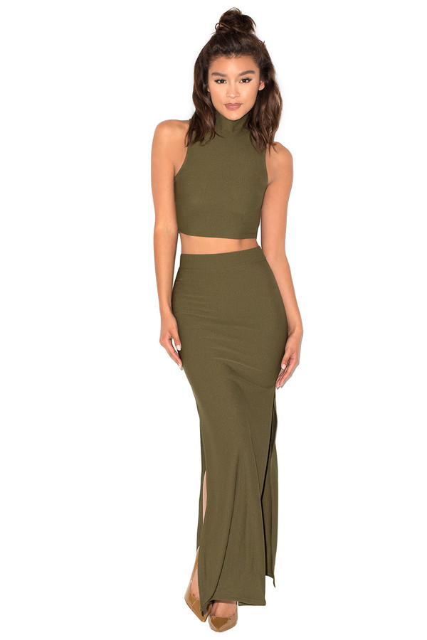 Hunter Khaki Rib Knit Two Piece