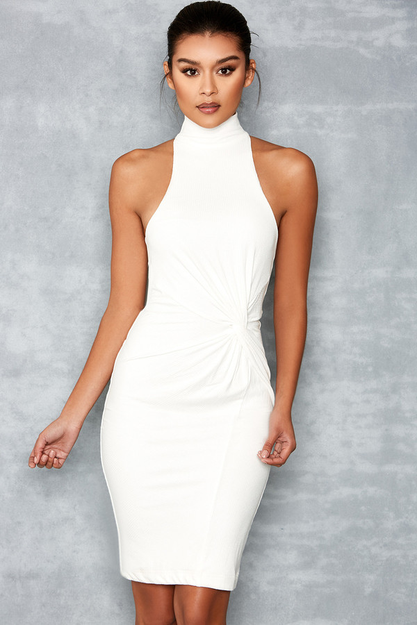 Queen White Knot Detail Dress