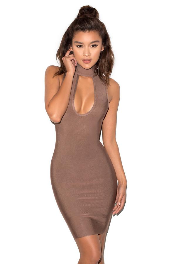 She Devil Coffee Peekaboob Bandage Dress