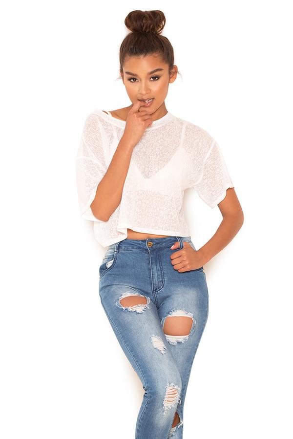 Vantage White Cropped Sheer T Shirt