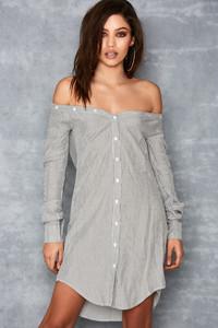 Charade Black & White Pinstripe Off Shoulder Shirt Dress