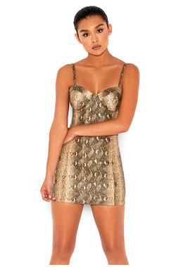 Groupie Snakeskin Effect Vegan Leather Bustier Dress