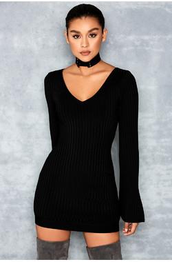 Conjurer Black Flare Sleeved Choker Bandage Dress
