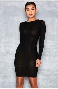 For Real Black Braided Semi Sheer Jersey