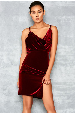 Homecoming Red Velvet Draped Dress