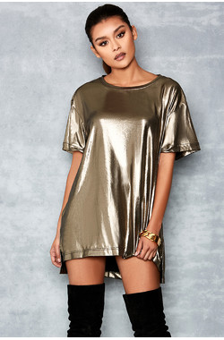 Idol Light Bronze T-Shirt Dress