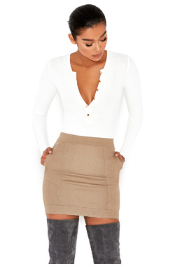Maven White Ribbed Jersey Button Up Bodysuit