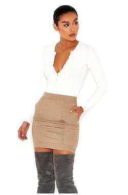'Move On' Stone Twill Mini Skirt