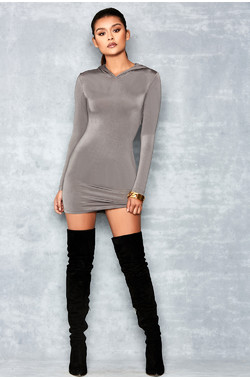 Snake Eyes Grey Silky Jersey Hooded Minidress
